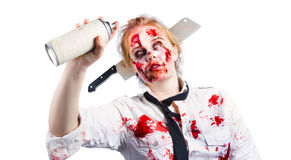 Undead woman with spray can Royalty Free Stock Image
