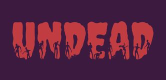 Undead word and silhouettes on them Stock Photography