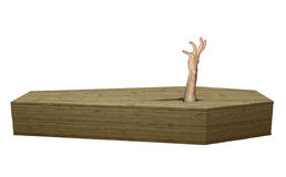 Undead zombie hand breaking out of wood coffin on Halloween. Hand of an undead zombified person breaking through a wooden coffin rendered in 3D Royalty Free Stock Image