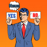 Undecided Businessman Making Decision. Man Holding Cards Yes No. Pop Art. Vector illustration Stock Photos