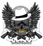 Undefeated. Mafia skull and pistols with no bullets vector format Royalty Free Stock Photography
