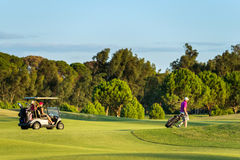 Undefined couple in a golf course in Antalya, Turkey Stock Photo