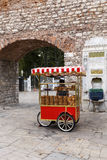Undefined man with simit cart ,Istanbul, Turkey. Royalty Free Stock Photo
