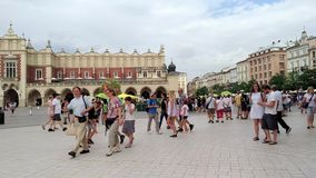 Undefined people in Krakow city - Poland stock footage