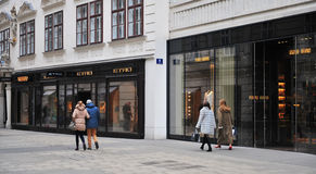 Undefined people in the shopping street of Vienna Royalty Free Stock Image