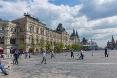 Undefined people walk on the Red Square in Moscow Royalty Free Stock Photography