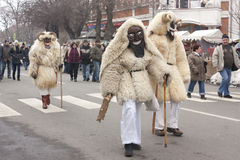 Undefined peoples in mask at a carnival. Carnival in MOHÁCS, HUNGARY - FEBRUARY 19: Undefined peoples in mask at the carnival of funeral the winter on February Stock Image