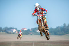 Undefined rider on Polish Motocross Championship Royalty Free Stock Photo
