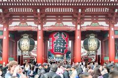Undefined Tourist in Sensoji shrine. Sensoji temple at Asakusa district in Tokyo, Japan royalty free stock photo
