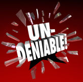 Undeniable 3d Word Breaking Through Red Glass Essential Integral Royalty Free Stock Photography