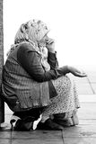 An undentified female muslim begger Royalty Free Stock Images