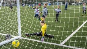 Under 9 år gammal fotbollkoppmatch fotografering för bildbyråer