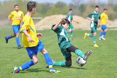 Under 15 soccer game Stock Photo