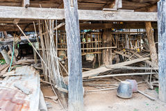 Under Abandoned Old Traditional Thai House Royalty Free Stock Photos