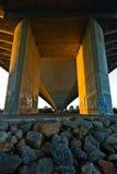 Under Ada cable bridge at golden hour in Belgrade Stock Photography