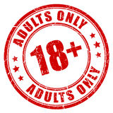 Under 18 adults only stamp. Under 18 rubber stamp, adults only Stock Images