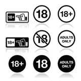 Under 18, adults only warning sign. Attention - under eighteen forbidden icons set Royalty Free Stock Image