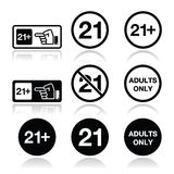 Under 21, adults only warning sign Stock Photo