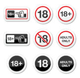 Under 18, adults only warning sign. Attention - under eighteen forbidden labels set Royalty Free Stock Photos