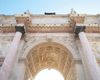 Under of Arc de Triomphe du Carrousel. With blue sky in Paris, France. In front of Louvre museum Stock Photography