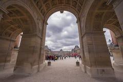From Under Arc de Triomphe du Carrousel. The view from under Arc de Triomphe du Carrousel in Tuileries Garden. Paris, France Royalty Free Stock Image