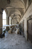 Under the arcades of the palace of the lodges arezzo tuscany italy europe Stock Photos