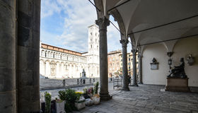 Under the arches of the praetorian palace lucca tuscany Italy europe Royalty Free Stock Photography