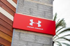 Under Armour store sign royalty free stock photography