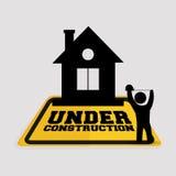 under att mäta för byggnadsarbetarehusband stock illustrationer