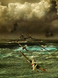 Under attack. American ship being attacked by several japanese planes during world war two Stock Photo