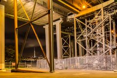 Under Aucklands Bridge. A look under Auckland harbour brigde stock photo