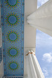 Under awning. Columns and a roof of hotel in Tashkent, Uzbekistan Stock Image