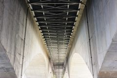 Under big suspension structure bridge. Royalty Free Stock Photos