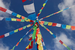 Under blue sky sutra streamer. Under the blue sky, flutters the sutra streamer, transmits the Tibetan national minority to the Buddha main irreverence Stock Images