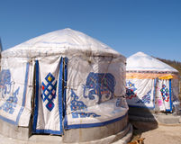 Under the blue sky yurt tent Stock Photo