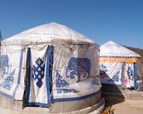 Under the blue sky yurt tent Stock Photo