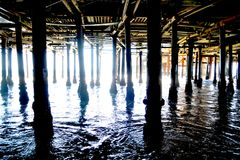 Under the boardwalk. Under the board walk down by the sea Stock Photography