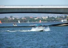 Under the bridge. Boat goes under the Narrows Bridge on the Swan River royalty free stock photos
