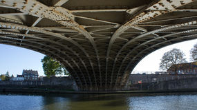 Under the bridge. A view from under a bridge on Namur city, Belgium stock images