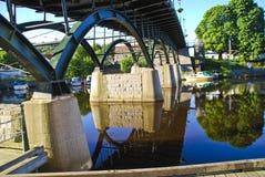 Under the bridge. Photo taken under the footbridge in Halden and is shot 25/6-2010 Royalty Free Stock Images