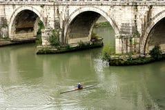 Under the bridge. San Angelo Bridge across the Tiber river Rome Italy Stock Photos