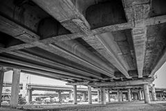 Under the bridge. black and white Royalty Free Stock Photo
