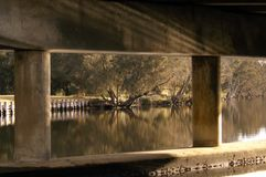 Under The bridge, or Boardwalk, with Sunlight coming off the water. stock photography