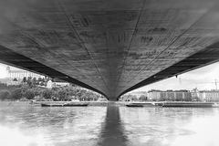 Under the bridge in Bratislava Royalty Free Stock Photo