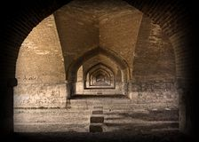Under bridge. Bridge bricks under wall long brown esfahan iran dry season river Royalty Free Stock Photography