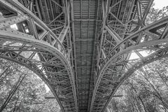 Under the Bridge Greyscale Low Angle Photograph Stock Image