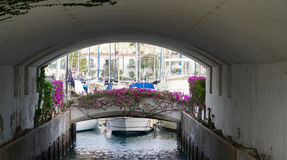 Under a bridge in a habor Stock Photo