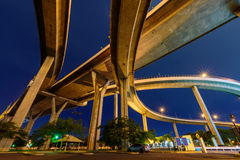 Under the bridge and lighting in night time Royalty Free Stock Photo