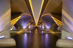 Under the bridge at night (illuminated) Stock Photography