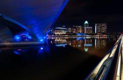 Under bridge at night Royalty Free Stock Photography